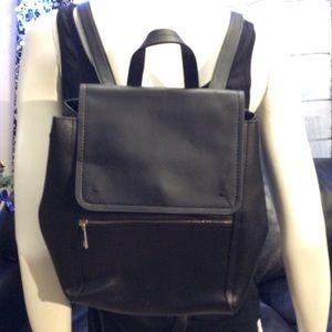 Basic black Zara vegan leather backpack